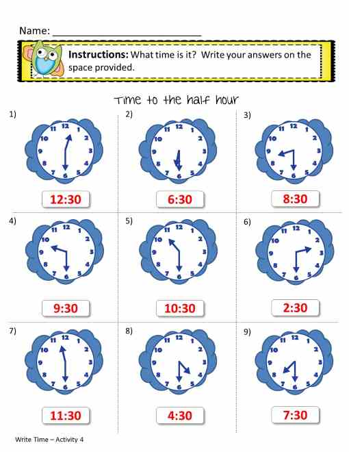 time worksheets - write the time