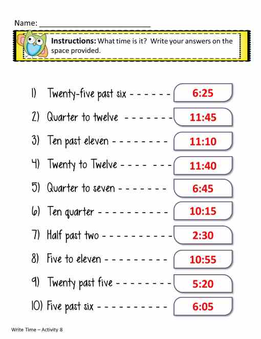 time worksheets in words