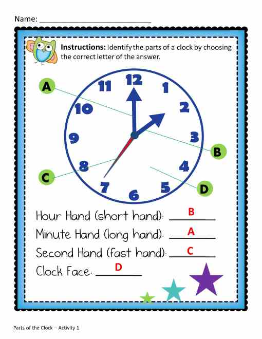 Worksheet Parts Of A Clock parts of a clock worksheet free worksheets library download and number names a