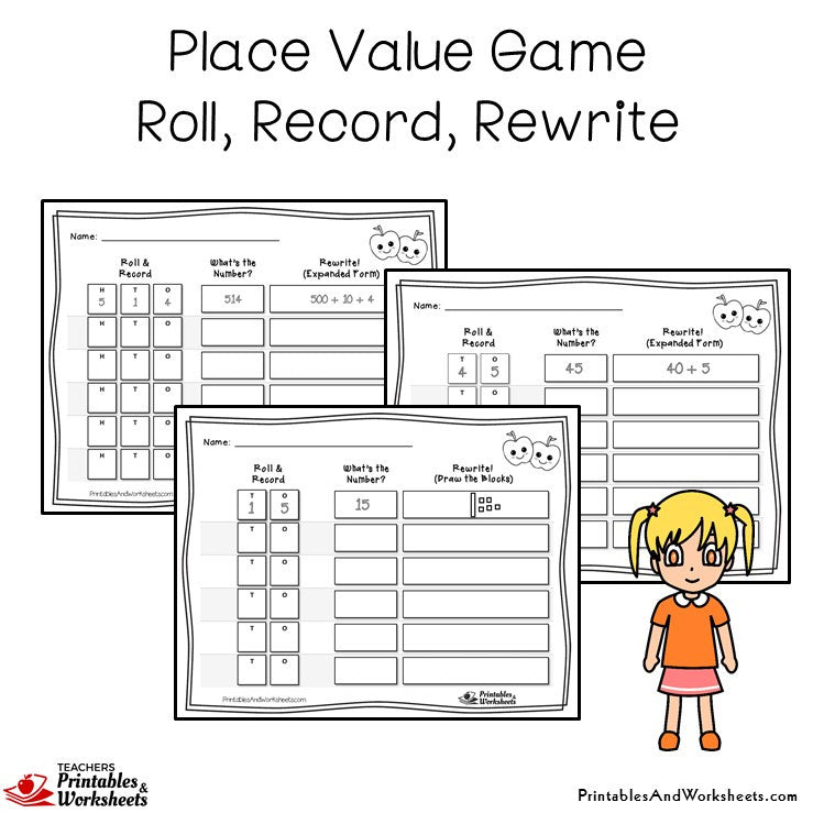 Place Value Game - Roll, Record, Rewrite Sample