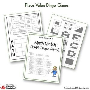 Place Value Bingo Game Math Match