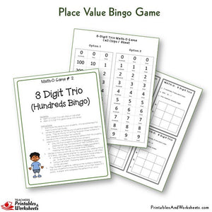 Place Value Bingo Game 3-Digit Trio