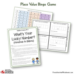 Place Value Bingo Game What's Your Lucky Number