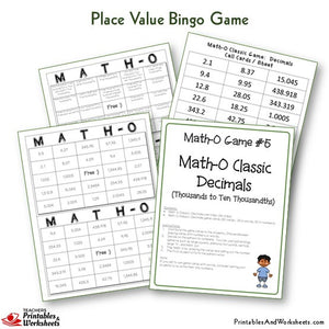 Place Value Bingo Game Math-O Classic Decimals