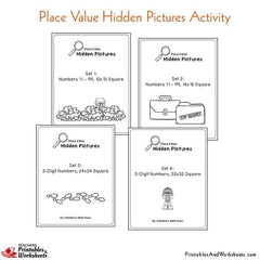 Place Value Hidden Picture Coloring Worksheets