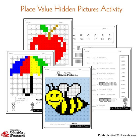 Place Value Activities Worksheets Mystery Pictures Sample 2