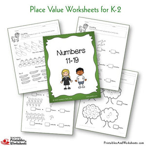 Kindergarten to Grade 1-2 Place Value Worksheets Numbers 11-19