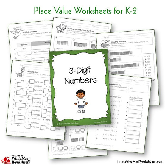 Kindergarten to Grade 1-2 Place Value Worksheets 3 Digit Numbers