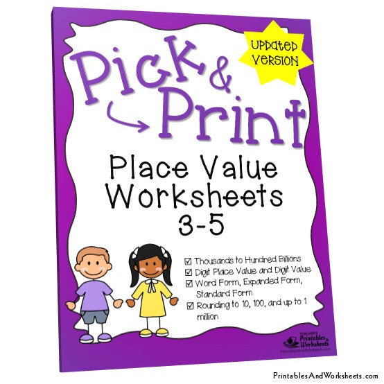 Grades 3-5 Place Value Worksheets Cover