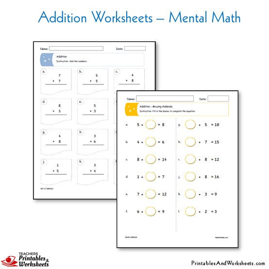 Addition Mental Math Worksheets