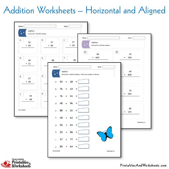 Addition Worksheets Adding Horizontal Aligned