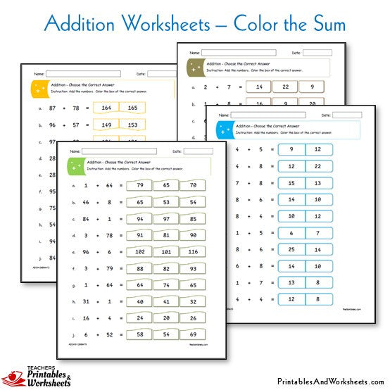 Addition Worksheets - Color the Sum