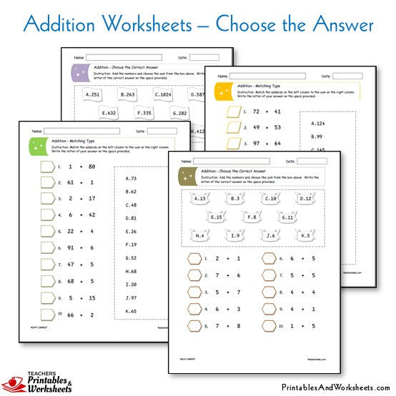 Addition Worksheets - Choose the Answer From a List or Box