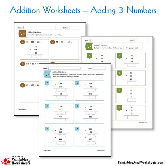 Addition Worksheets - Adding 3 Numbers Worksheets