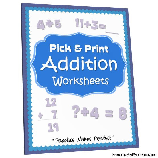 K-5 Addition Worksheets Bundle Cover