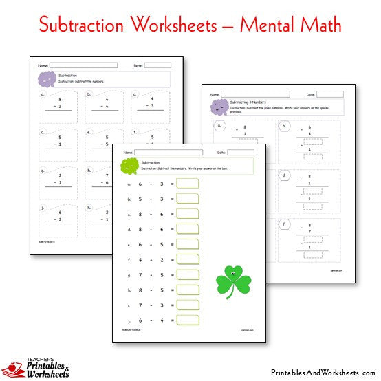 Subtraction Worksheets - Printables & Worksheets