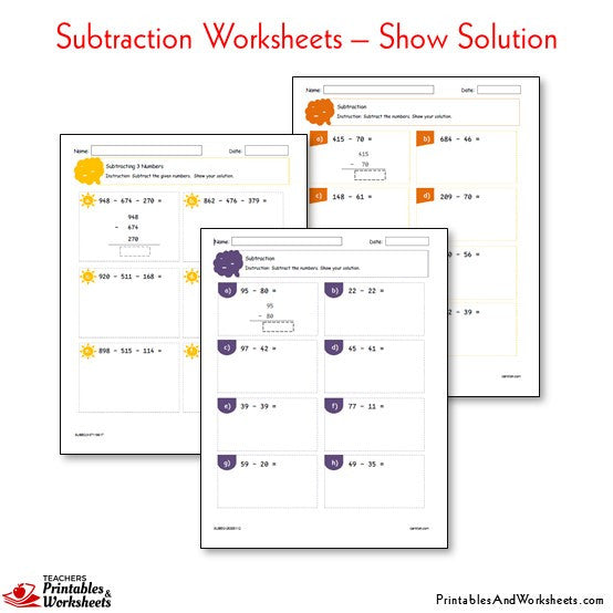 Subtraction Worksheets Bundle - Show Your Solution