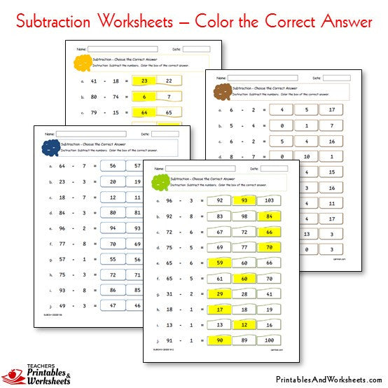 Subtraction Worksheets Bundle - Color the Correct Answer