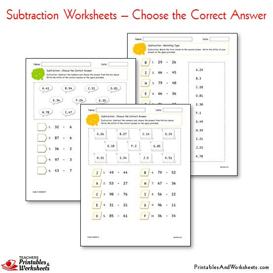 Subtraction Worksheets Bundle - Choose the Correct Answer