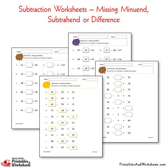 Subtraction Worksheets Bundle - Missing Subtrahend, Minuend, Difference
