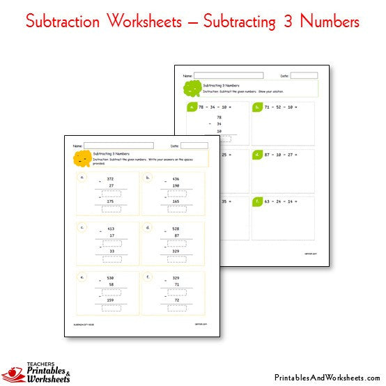 Subtraction Worksheets Bundle - Subtracting 3 Numbers