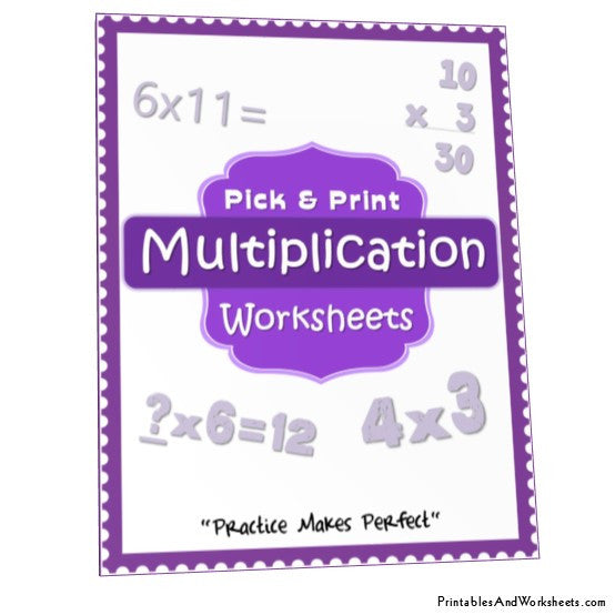 Multiplication Worksheets Bundle Cover