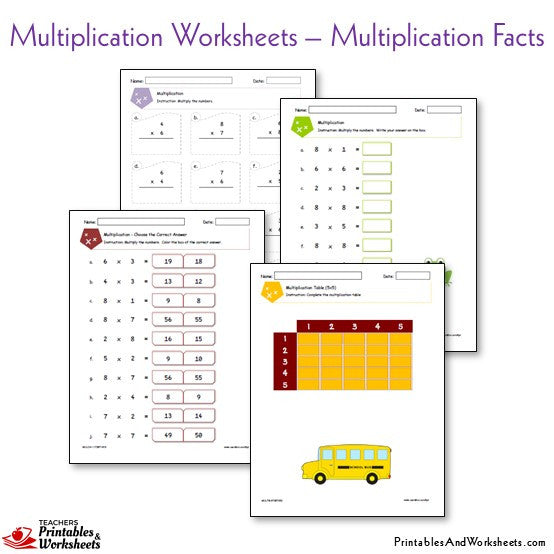 Multiplication Facts Worksheets