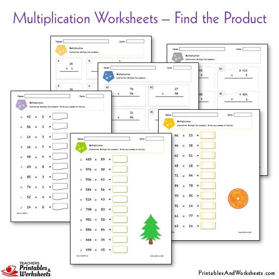 Multiplication Worksheets Bundle - Find the Product