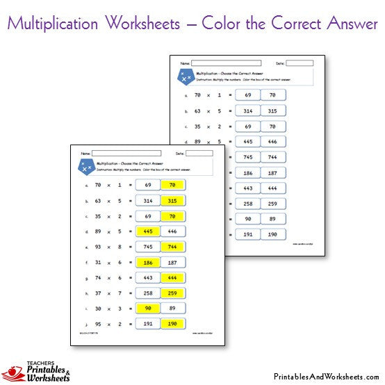 Multiplication Worksheets Bundle - Color the Correct Answer
