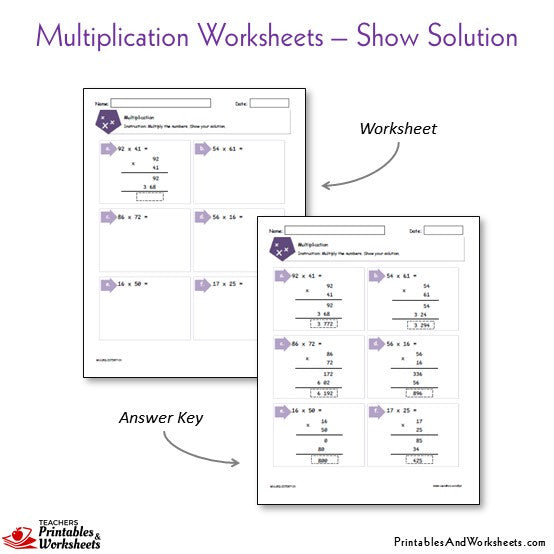 Multiplication Worksheets Bundle - Show the Solution