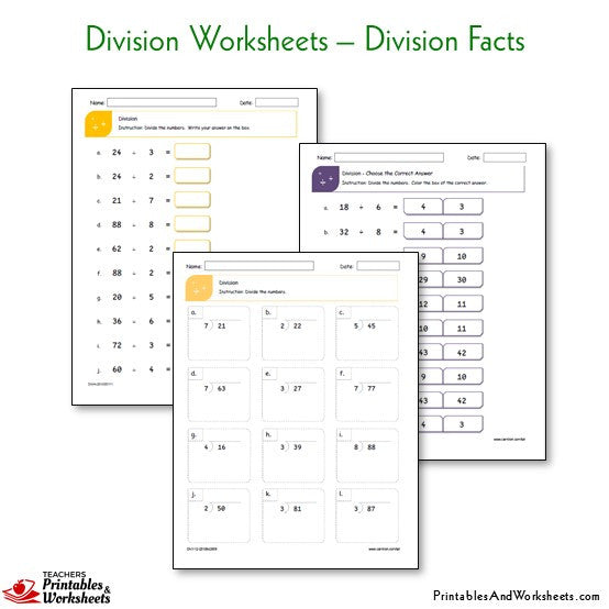 Division Worksheets Bundle - Division Facts