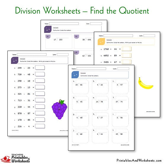 Division Worksheets Printables