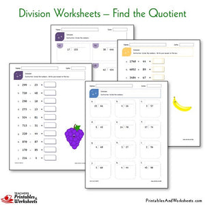 Division Worksheets Bundle - Find the Quotient