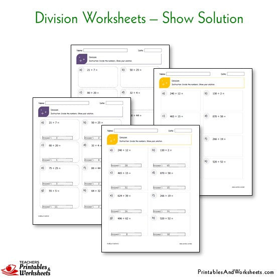 Division Worksheets Bundle - Show your Solution