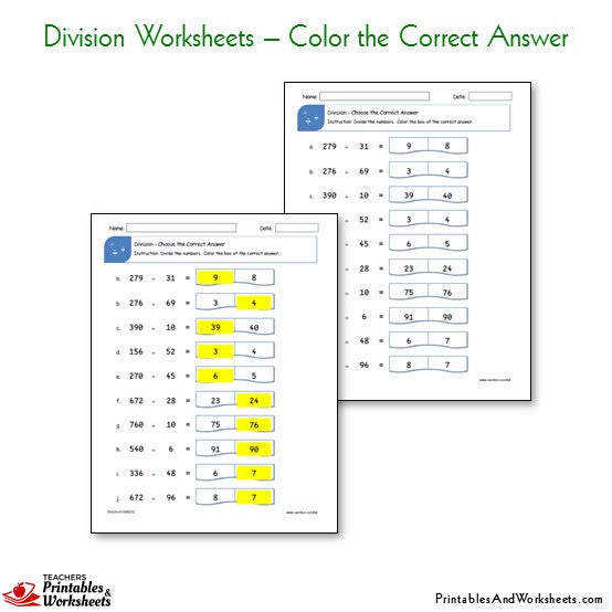 Division Worksheets Bundle - Color the Correct Answer