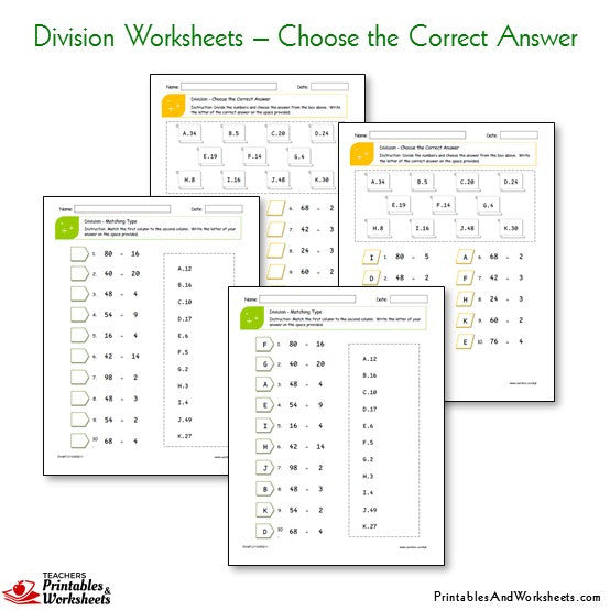Division Worksheets Bundle - Choose the Correct Answer