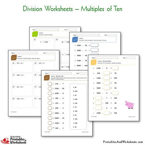 Division Worksheets Bundle - Multiples of Ten