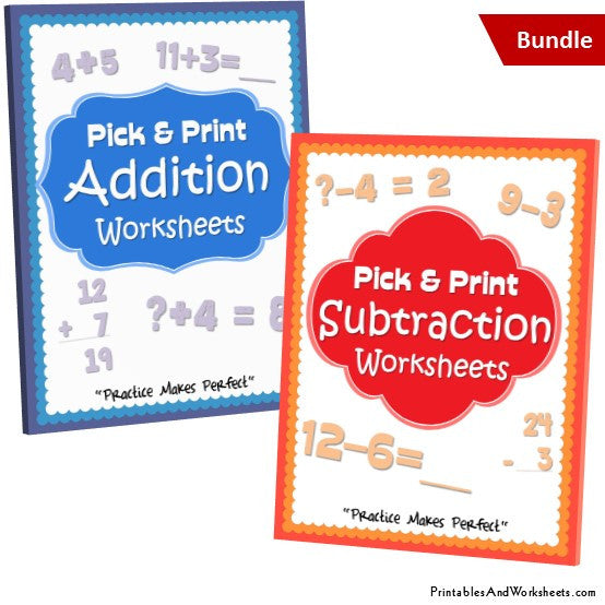 Addition and Subtraction Worksheets Bundle Cover