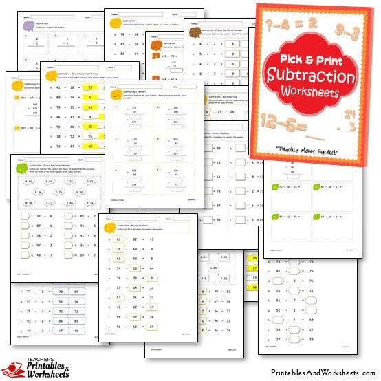 Addition and Subtraction Worksheets Bundle - Sample Subtraction