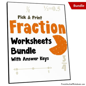 Fractions Worksheets with Answer Keys Cover
