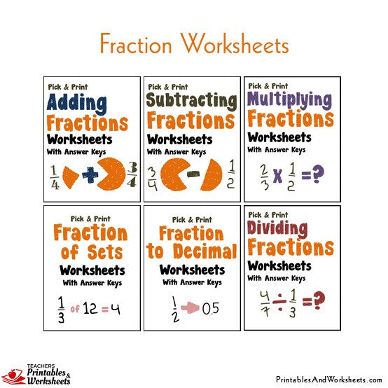 Fractions Worksheets with Answer Keys Operations