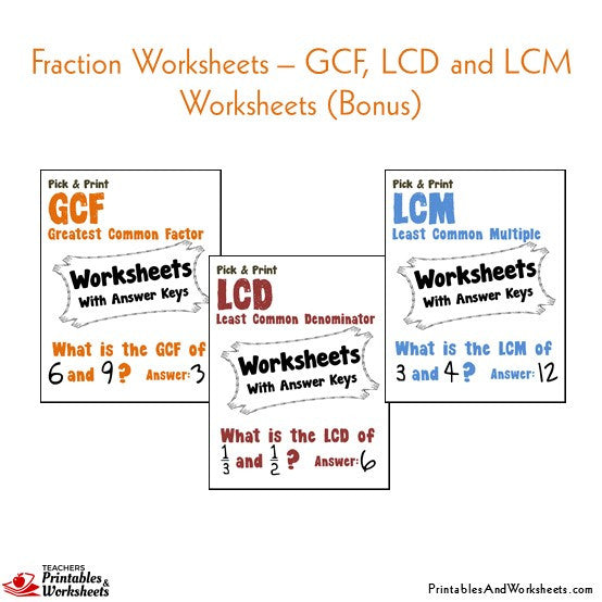 Fractions Worksheets with Answer Keys GCF, LCM, LCD
