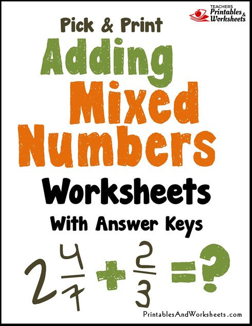 Adding Mixed Numbers Worksheets Cover
