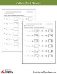 Adding Mixed Numbers Worksheets