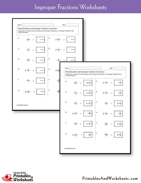 Improper Fractions Worksheets Sample
