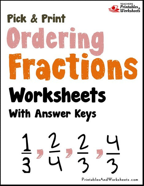 Ordering Fractions Worksheets Cover