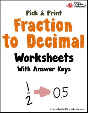 Fraction to Decimal Worksheets Cover