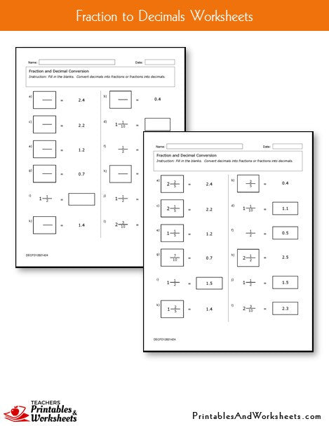 Fraction to Decimal Worksheets Sample