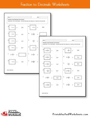 Fraction to Decimal Worksheets