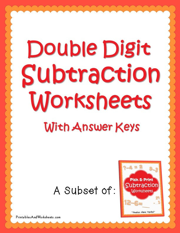 Double Digit Subtraction Worksheets with Answer Keys Cover